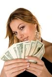 Attractive Woman and money Royalty Free Stock Images