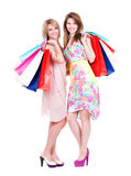 Attractive woman with multicolor shopping bags. Royalty Free Stock Images