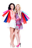 Attractive woman with multicolor shopping bags. Royalty Free Stock Photos