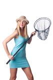 Attractive woman with net on the white Stock Images