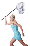 Attractive woman with net on the white Stock Photography