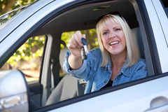 Attractive Woman In New Car with Keys Royalty Free Stock Photos