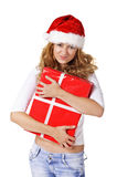 Attractive woman with nice gift Stock Photo