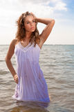 Attractive woman in ocean Royalty Free Stock Photos