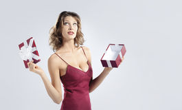Attractive woman open gift box Stock Photo