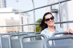 Attractive woman open top bus Stock Images