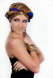 Attractive woman in  oriental turban Royalty Free Stock Image