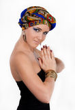Attractive woman in  oriental turban Royalty Free Stock Photo
