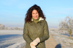 Attractive woman outdoors on a winter morning Stock Photos