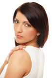 Attractive Woman Over White Background Royalty Free Stock Photos