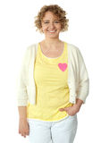 Attractive woman with paper heart Royalty Free Stock Image