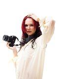 Attractive woman with photo camera Royalty Free Stock Photo