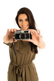 Attractive Woman with photo camera Stock Photography