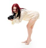 Attractive woman photographer posing Stock Image