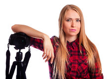 Attractive Woman photographer at work with DSLR isolated on whit stock photos