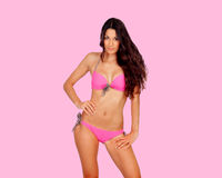 Attractive woman with pink bikini Stock Photography