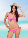 Attractive woman with pink bikini Royalty Free Stock Photos