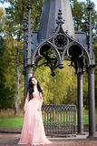 Attractive woman in pink dress. Nature Royalty Free Stock Photo