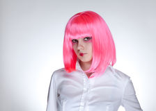 Attractive woman with pink hair Royalty Free Stock Photo