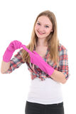 Attractive woman in pink rubber gloves over white background Stock Photo