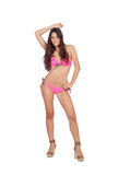 Attractive woman with pink swimwear Royalty Free Stock Image