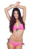 Attractive woman with pink swimwear Stock Photo