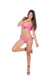 Attractive woman with pink swimwear Stock Photography