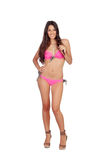 Attractive woman with pink swimwear Royalty Free Stock Images