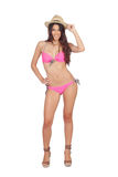 Attractive woman with pink swimwear and straw hat Stock Images