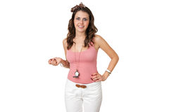 Attractive woman in pink top with a clock Royalty Free Stock Photos