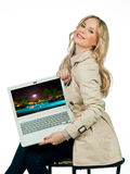 Attractive woman planing vacation Royalty Free Stock Photos