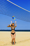 Attractive woman plays in volleyball Stock Image