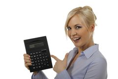 Attractive woman with pocket calculator Stock Images