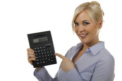 Attractive woman with pocket calculator Royalty Free Stock Photo