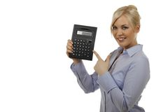 Attractive woman with pocket calculator Stock Photos