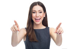 Attractive woman pointing Stock Photo
