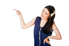 Attractive woman pointing her finger Stock Image