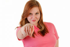 Attractive woman pointing Stock Photography