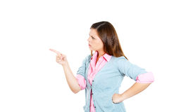 Attractive woman pointing at someone as if to say you did something wrong, bad boy Stock Photo