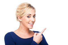 Attractive Woman Pointing at Something Stock Photos