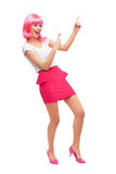 Attractive woman pointing up Royalty Free Stock Images