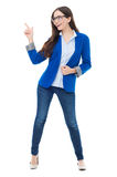 Attractive woman pointing up Stock Photos