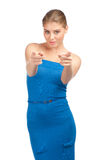 Attractive woman pointing at viewer Royalty Free Stock Photo