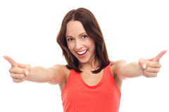 Attractive woman pointing at you Royalty Free Stock Photo