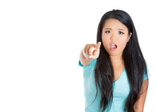 Attractive woman pointing at you, shocked Royalty Free Stock Images
