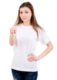 Attractive woman points to camera Royalty Free Stock Photography