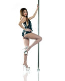 Attractive woman pole dancer Stock Image