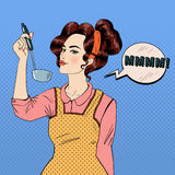 Attractive Woman in Pop Art Style Cooking in the Kitchen. Vector illustration in comic style Royalty Free Stock Photo