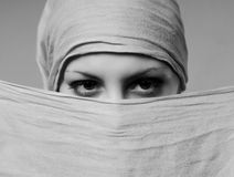 Attractive woman portrait. Young attractive woman portrait with scarf Stock Photo