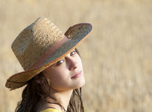 Attractive woman portrait in field of wheat Royalty Free Stock Images